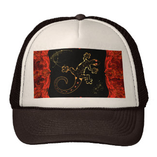 Cute gecko in red and gold mesh hat