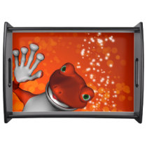 Cute gecko in red serving tray