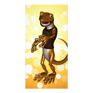 Cute gecko photo card template