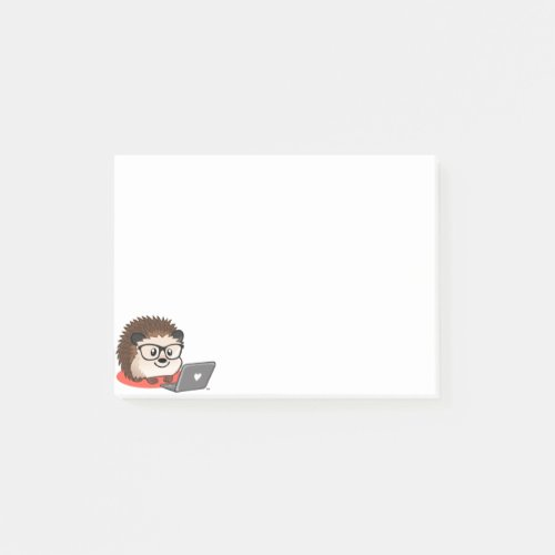 Cute Geeky Nerdy Hedgehog On A Laptop Post It Post_it Notes