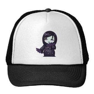 Cute Geisha Black Kimono With Purple Fans Trucker Hat