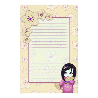 Cute Geisha Pink And White Cherry Blossoms Lined Stationery