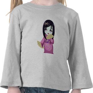 Cute Geisha Pink Kimono With Silver Fans T-shirt