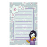 Cute Geisha Purple And Blue Cherry Blossoms Lined Stationery Design