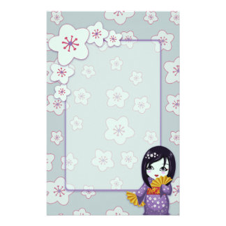 Cute Geisha Purple And Blue Sakura Unlined Stationery