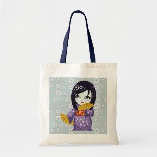 Cute Geisha Purple Kimono With Golden Fans Tote Bags