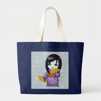 Cute Geisha Purple Kimono With Golden Fans Tote Bag