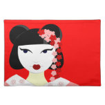 Cute Geisha with Flowers - Red Place Mats