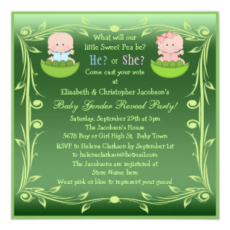 Cute Gender Reveal Babies in Pea Pods Invitation