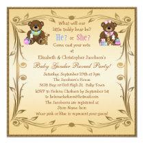 Cute Gender Reveal Teddy Bears Card