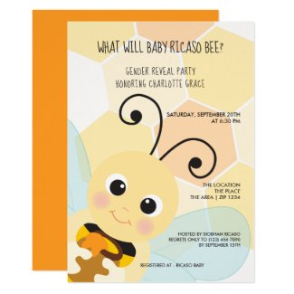 Cute Gender Reveal What Will Baby Bee Baby Shower Invitation