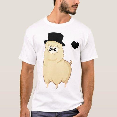 Cute Gentleman Alpaca T_Shirt