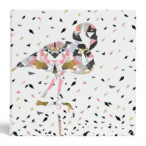 Cute geometric Flamingo abstract design 3 Ring Binder
