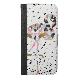 Cute geometric Flamingo abstract design iPhone 6/6s Plus Wallet Case