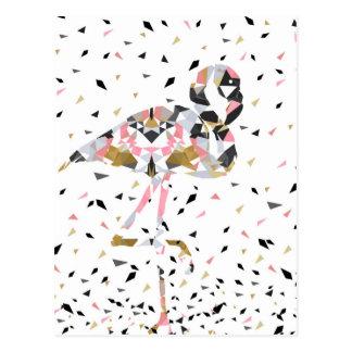 Cute geometric Flamingo abstract design Postcard