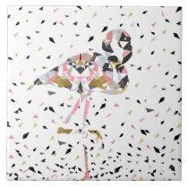 Cute geometric Flamingo abstract design Tile
