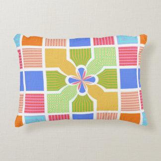 Cute Geometric Rainbow Squares Quatrefoil Center Accent Pillow