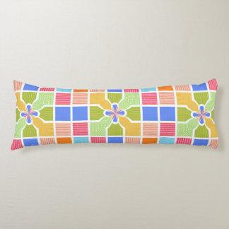 Cute Geometric Rainbow Squares Quatrefoil Center Body Pillow