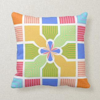 Cute Geometric Rainbow Squares Quatrefoil Center Pillows