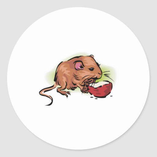 cute gerbil eating nut round sticker