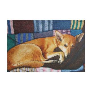 cute german shephard dog cross pet portrait art canvas print