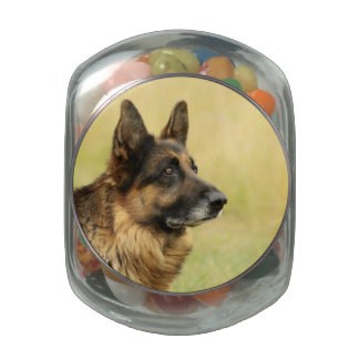 Cute German Shepherd Glass Jar