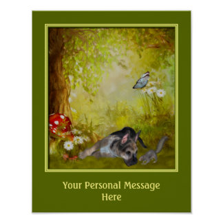 Cute German Shepherd Puppy Personalized Poster