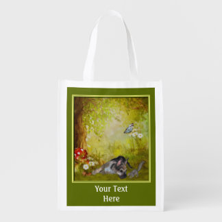 Cute German Shepherd Puppy Personalized Reusable Grocery Bag