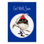 Cute Get Well Soon Ice Hockey Sport Bird Greeting Card