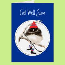 Cute Get Well Soon Ice Hockey Sport Bird Card