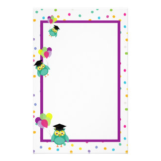 Cute Ggraduate Owls With Balloons Stationery