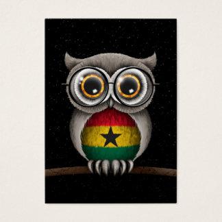 Cute Ghana Flag Owl Wearing Glasses Business Card