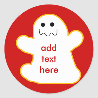 Cute Ghost Add Your Own Caption or Text Round Sticker