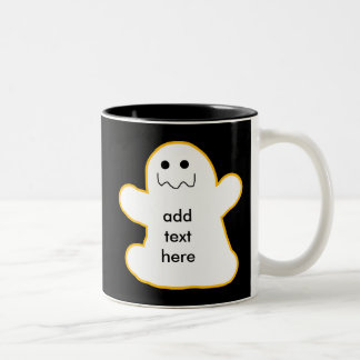 Cute Ghost Add Your Own Caption or Text Two-Tone Coffee Mug