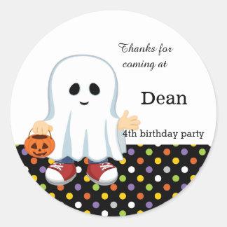 Cute ghost boy classic round sticker