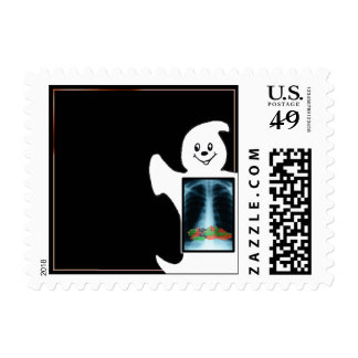 Cute Ghost Candy X-Ray Halloween Postage