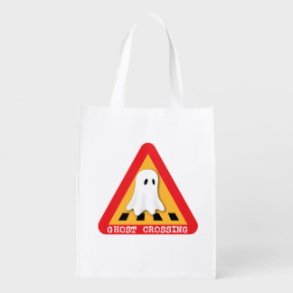 Cute Ghost Crossing Sign Reusable Grocery Bags