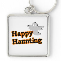 Cute Ghost Halloween Happy Haunting square Keychain