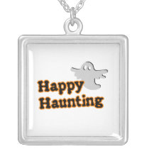 Cute Ghost Halloween Happy Haunting square Silver Plated Necklace