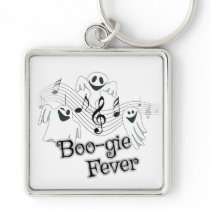 Cute Ghost Halloween Music square Keychain