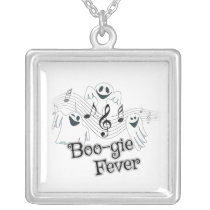 Cute Ghost Halloween Music square Silver Plated Necklace
