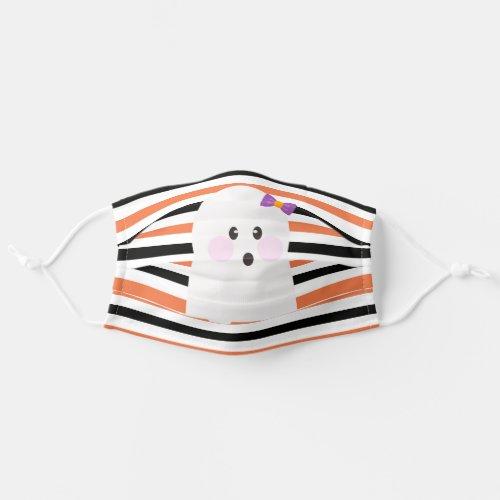 Cute Ghost Halloween Orange Stripes Cloth Face Mask