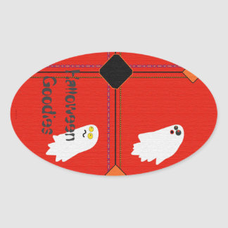 Cute Ghost Party Halloween Treat Bag Oval Sticker