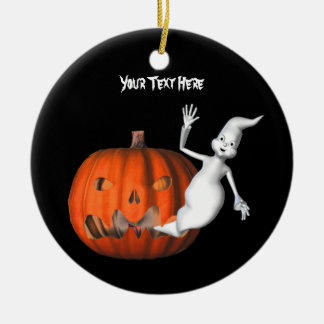 Cute Ghost Pumpkin Halloween Ornament