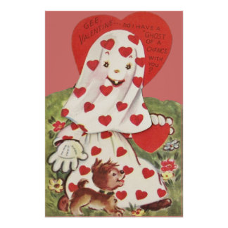 Cute Ghost Puppy Dog Heart Valentine Poster