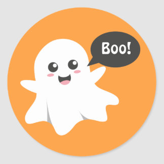 Cute Ghost that Goes Boo, Happy Halloween Classic Round Sticker