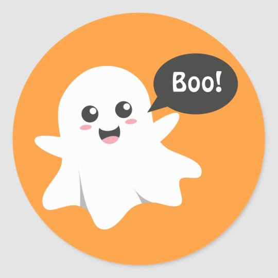 Cute Ghost that Goes Boo, Happy Halloween Classic Round Sticker ...
