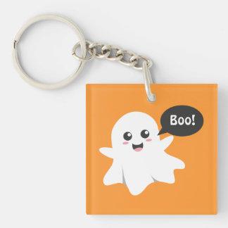 Cute Ghost that Goes Boo, Happy Halloween Keychain