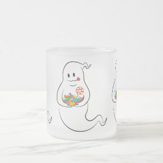 Cute ghost with candies frosted glass coffee mug