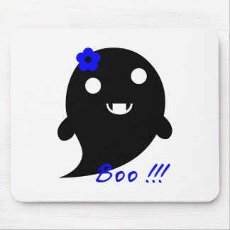 """Cute Ghost With Flower And Word """"Boo"""" Mouse Pad"""